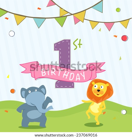 Kids 1st Birthday celebration Invitation card design with party flag and cartoon of animals. - stock vector