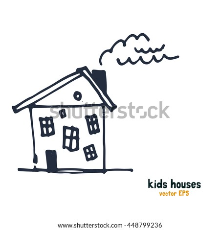 Kids style houses illustration vector picture.