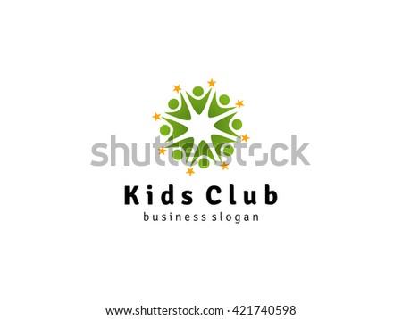 kids success logo star kids teamwork stock vector royalty free