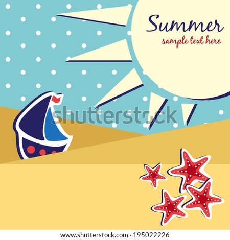 kids summer background - stock vector
