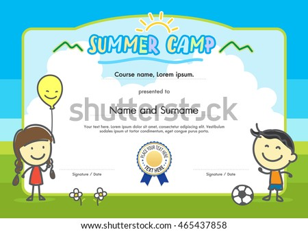 Kids Summer Camp Certificate Document Template With Hand Drawing Boy And  Girl