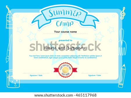 Kids summer camp document certificate template stock vector kids summer camp document certificate template with light blue border yadclub Choice Image