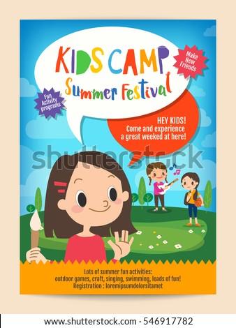 kids summer camp education advertising posterのベクター画像素材
