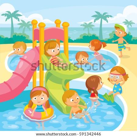Kids Swimming kids play swim aqua park stock vector 601786589 - shutterstock
