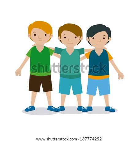 kids team over white background vector illustration - stock vector