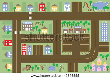 kids town. If printed out at full size, roads and parking will fit match car size.