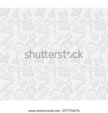 Kids toys. Vector background seamless pattern, template in vector