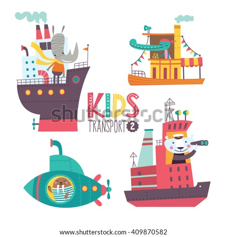 Kids transport collection with cute animals. Part 2. Vector illustration on a white background. Ocean liner, steamship, submarine, icebreaker. - stock vector