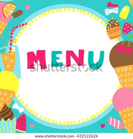 Kids Vector Border with Delicious Ice Cream Cupcakes Strawberry and Orange with Inscription Vertical Seamless for Kids Menu - stock vector