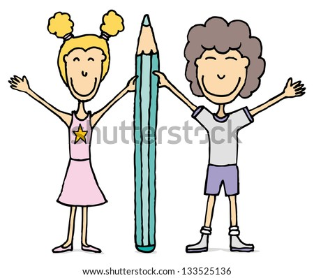 Kids vector drawing / Boy and girl holding big pencil. - stock vector