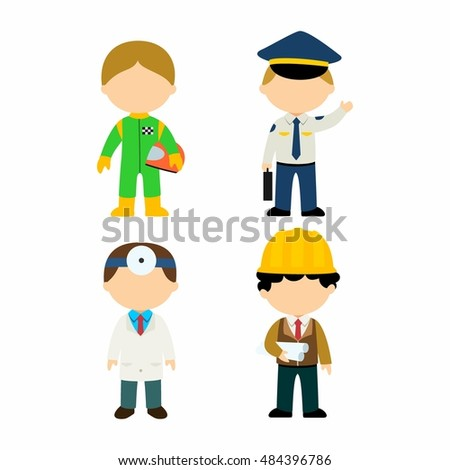 Kids vector illustration cartoon character of different profession: suitable for icon or education use.