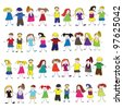 Kids vector set - stock photo