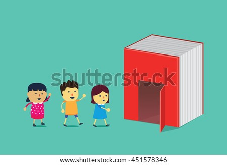Kids walking into the door of big book. This illustration is a concept about reading and education - stock vector