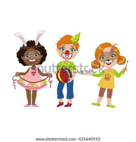 Kids With Funny Make Up Bright Color Cartoon Childish Style Flat Vector Drawing Isolated On White Background - stock vector