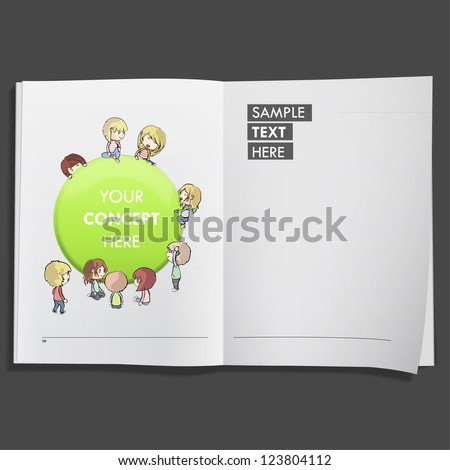 Kids with green web button printed on white book, Vector design. - stock vector