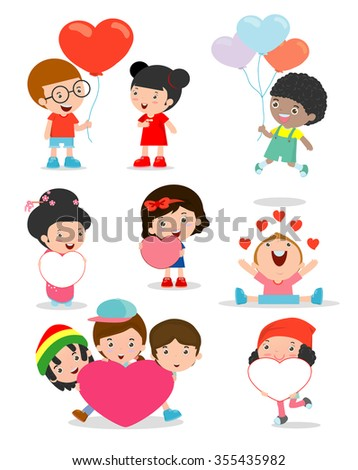 kids with heart on white background ,Happy Valentine's day,  Cute stick figure child holding Valentine's Day hearts.  - stock vector