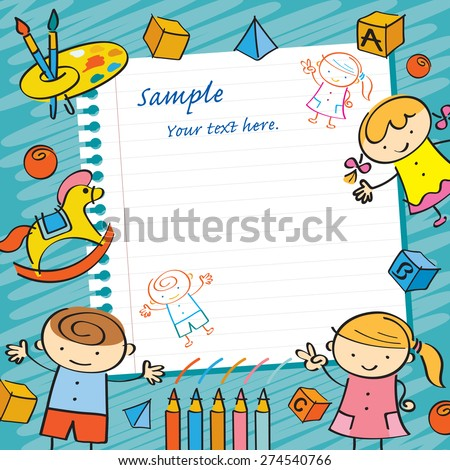 Kids with Paper Background and Toys Frame, Drawing Style, Kindergarten, Preschool, Education, Learning and Study Concept