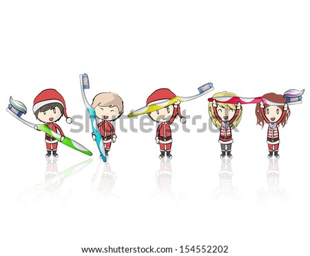 Kids with Santa Claus costume holding toothbrush. Vector design  - stock vector