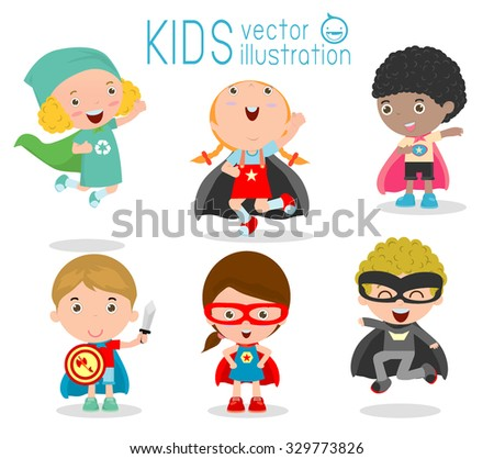 Kids With Superhero Costumes set, kids in Superhero costume characters isolated on white background, Cute little Superhero Children's collection, Superhero Children's, Superhero Kids. - stock vector