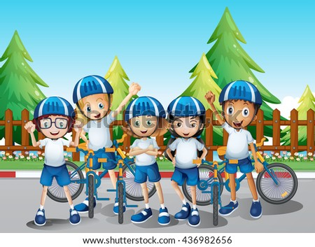 Kids with their bike on the road illustration