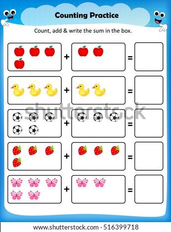 Kids Worksheet Counting Practice Maths Worksheet Stock Vector ...