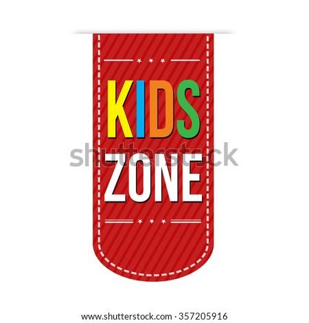 Kids zone banner design over a white background, vector illustration - stock vector
