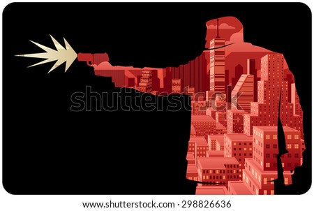 Killer 2 / Abstract illustration of man shooting with pistol.  - stock vector