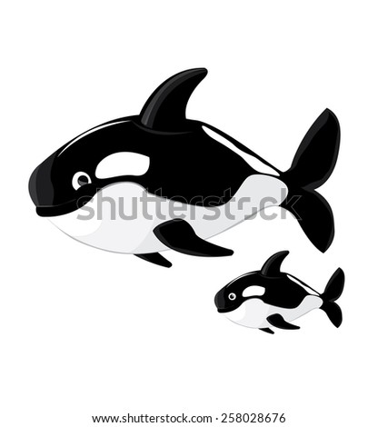 Killer whale cartoon vector - stock vector