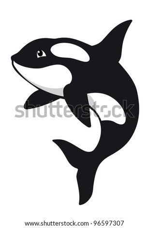 Killer whale in cartoon style. Vector illustration - stock vector