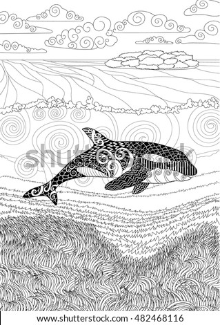 killer whale with high details adult antistress coloring page with orca black white hand
