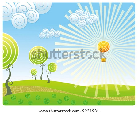 Kind on a landscape with a balloon in the form of the sun - stock vector