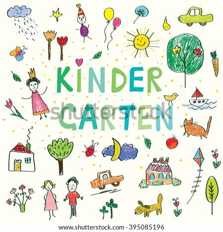 Kindergarten banner with funny kids drawing - vector design - stock vector