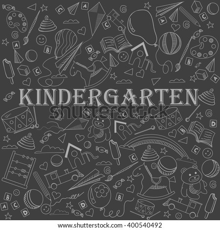 Kindergarten chalk line art design vector illustration. Separate objects. Hand drawn doodle design elements.