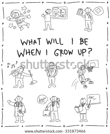 Kindergarten children pencil doodle drawing sketch of cartoon character job professions they dream to be such as astronaut businessman doctor nurse sportsman pop star engineer architect teacher icon  - stock vector