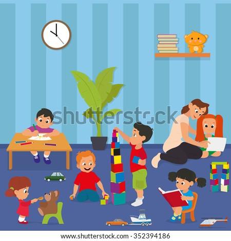 Kindergarten. Children playing in kinder garden. young teacher teaches children in kindergarten. Vector illustration. children are passionate about the game in kindergarten. - stock vector