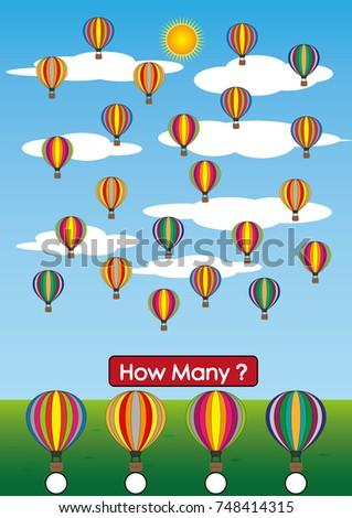 Kindergarten Math Worksheets How Many Air Stock Vector 748414315 ...
