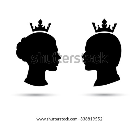 king and queen heads, king and queen face, black silhouette of king and queen. Royal family. Vector icons isolated on white - stock vector