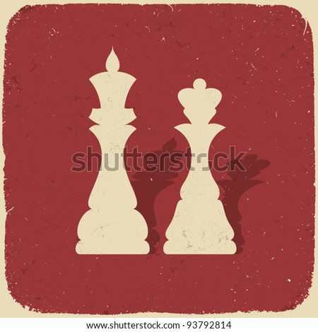 King and queen. Retro chess background, vector illustration, EPS10. - stock vector
