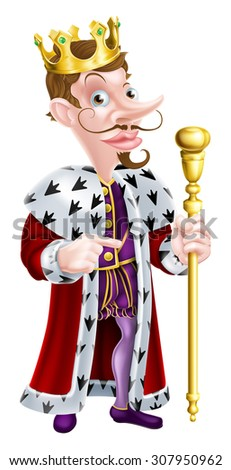 King cartoon character holding a sceptre and giving a thumbs up - stock vector
