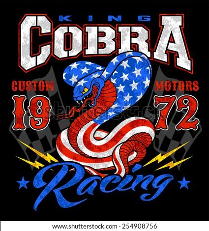 King cobra motor racing graphic - stock vector