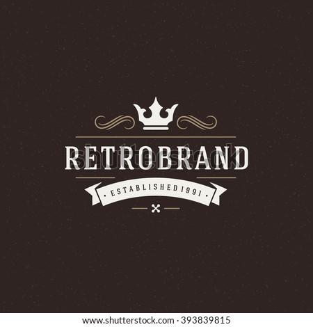 King Crown Logo Template Vector Design Element Vintage Style For Logotype Label Badge