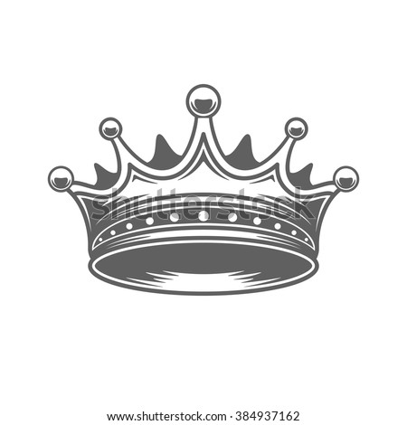 King Crown Logo Vector Illustration. Royal Crown Silhouette Isolated On White Background. Vector object for Labels, Badges, Logos Design. King Logo, Luxury Logo, Crown Symbol, Vintage Logo, Crown Icon - stock vector