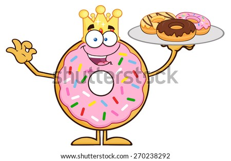King Donut Cartoon Character Serving Donuts. Vector Illustration Isolated On White - stock vector