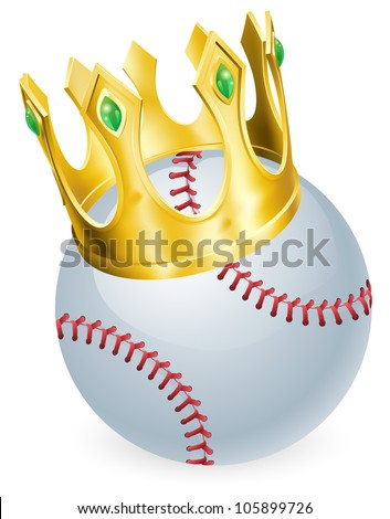 King of baseball concept, a baseball ball wearing a gold crown