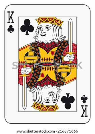 King of clubs playing card - stock vector