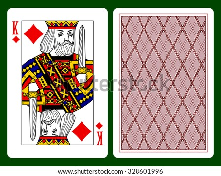 King of Diamonds playing card and the backside background. Original design. Vector illustration - stock vector