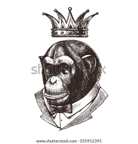 King Of Monkeys Chimpanzees In The Tuxedo And Crown Vector Illustration