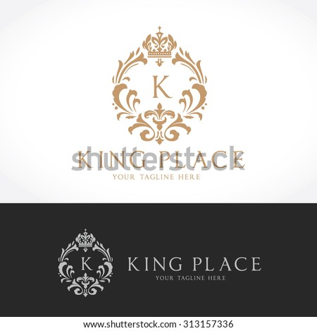 King place,boutique brand,real estate,property,royalty,crown logo,crest logo,Vector Logo Template. - stock vector