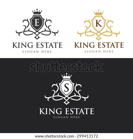 King Real Estate, crest logo,crests,crown,royal, fashion,hotel logo,boutique brand,vector logo template - stock vector