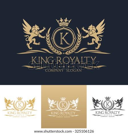 King Royalty,boutique brand,real estate,property,royalty,crown logo,crest logo,Lion Logo,Vector Logo Template. - stock vector